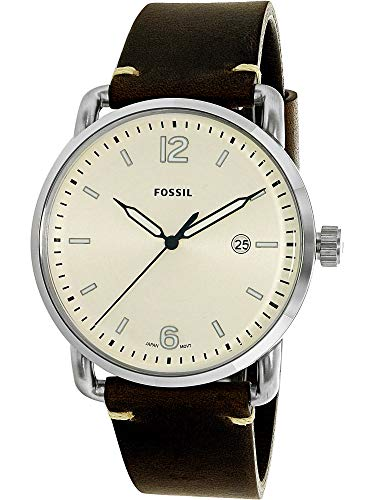 Fossil Men's The Commuter Quartz Stainless Steel and Leather Casual Watch, Color: Silver-Tone, Brown (Model: FS5275)