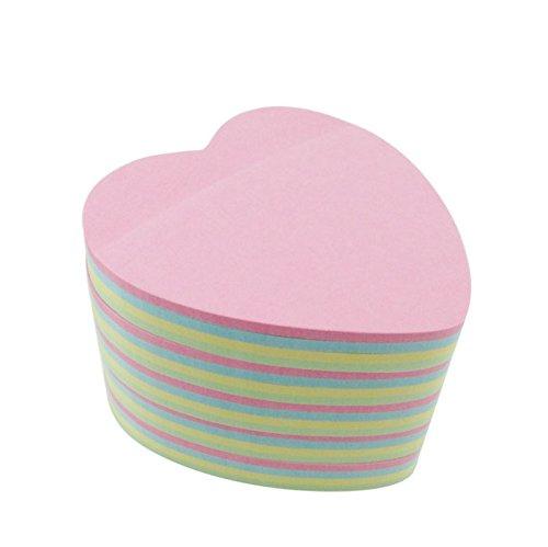 Rainbow Love 5pcs Heart-shaped Sticky Note Cube Super Sticky Removable Notes ()