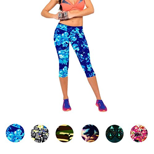 AutumnFall¨ Performance Activewear - Printed Yoga Capri Work-out Leggings