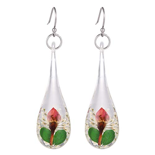 FM FM42 .925 Sterling Silver Multi-Colored Dried Natural Flowers Simulated Transparent Resin Teardrop Drop Dangle Hook Earrings FE2079