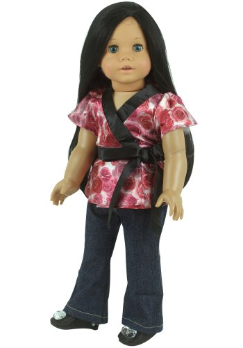 Fits American Girl Doll 18 Inch Doll Clothing 2 Pc. Set of Denim Doll Jeans & Satin Floral Blouse