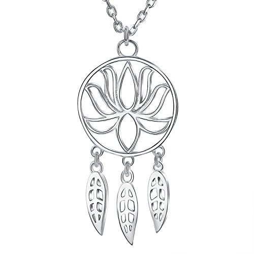 BlingGem 925 Sterling Silver Lotus Dream Catcher Pendant Necklace for Women Fine Jewelry Gift for Women and Girls on Valentine's Day