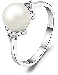 Women's White 8mm AAA Quality Freshwater Cultured Pearl Ring 925 Sterling Silver