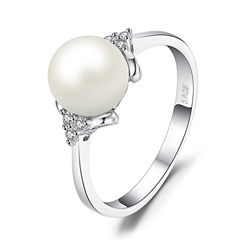 JewelryPalace 8mm Freshwater Cultured Pearl Ring 925 Sterling Silver Size 6