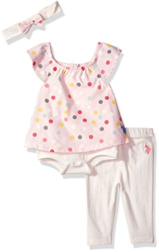 U.S. Polo Assn. Baby Girls Fashion Top, Pant and Accessory Set, Printed Poplin Capri Headband Vanilla, 18M (Us Girl Assn Polo Baby)