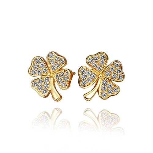 Lefinis 18K yellow Gold Plated Crystal Four Leaves Clover Heart Flower Earrings Fashion Party Jewelry