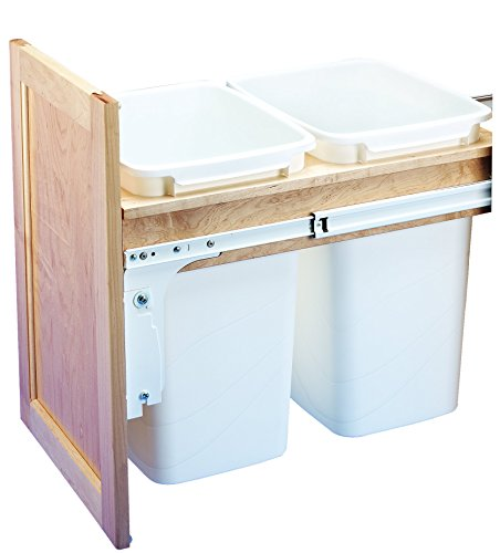 - Rev-A-Shelf Dbl 35 QT Top Mount Waste Containers, Natural