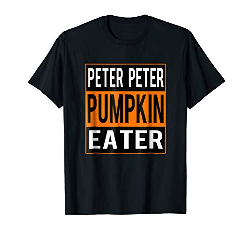 Mens Peter Peter Pumpkin Eater Halloween Couples Costume T-shirt Large Black