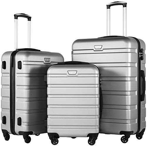 (COOLIFE Luggage 3 Piece Set Suitcase Spinner Hardshell Lightweight TSA Lock (sliver3))