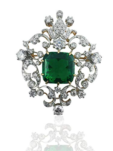 Adastra Jewelry 925 Sterling Silver brooch pin victorian style filigree green cushion 15ct AAAAA grade VVS D CZ cubic Zirconia Party Cocktail jewelry ()