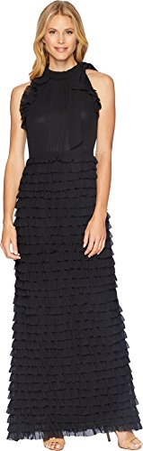 Tahari Skirt A-line (Tahari by ASL Women's Gown with Ruffled Skirt Black 16)
