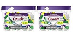 2 Pk, Cascade Platinum Actionpacs Lemon Burst Scent Dishwasher Detergent, 39 Count(78 in total), 23.3 Oz