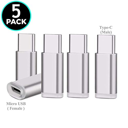 UNIDOPRO USB C Adapter, 5Pcs Aluminum Type C to Micro USB Convert Data Sync & Charge Compatible Samsung Galaxy S10 S10e S9 S8 Plus Note 10 9 8 A20 A30 A40 A50 A60 A70 A80 M20 M30 M40, Pixel 3 3A 2 XL