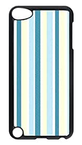 Brian114 Case, iPod Touch 5 Case, iPod Touch 5th Case Cover, Blue And White Stripes Retro Protective Hard PC Back Case for iPod Touch 5 ( Black )