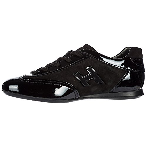 Hogan Femme Noir Sneakers Cuir Flock Chaussures Baskets h Olympia en rp4qZrxw