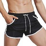 Kiasebu Men's Boxer Shorts Brief Swim Casual Beach Pants Summer Surfing Swimming Trunks Board Short for Men Black