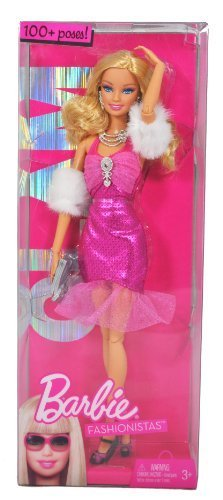 (Barbie Year 2009 Fashionistas Series 12 Inch Doll - GLAM Barbie with Pink Neck Strap Party Dress, Faux Fur Arm Wrap, Necklace, Earrings, Purse and Pair of High Heel Shoes (R9878))