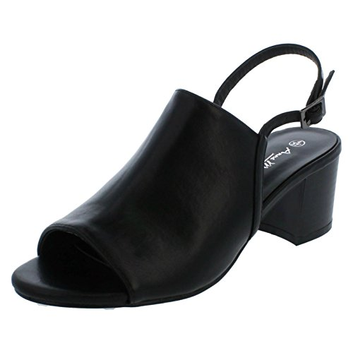 Anne Michelle Ladies Mid Heel Mules Black