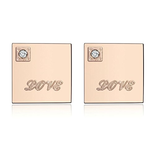 [AmDxD Jewelry Stainless Steel Stud Earrings for Women Square Engraved