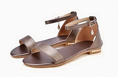 Toe Low Women's WeenFashion Pu Gold Solid Heels Buckle Open Sandals Awn6qv