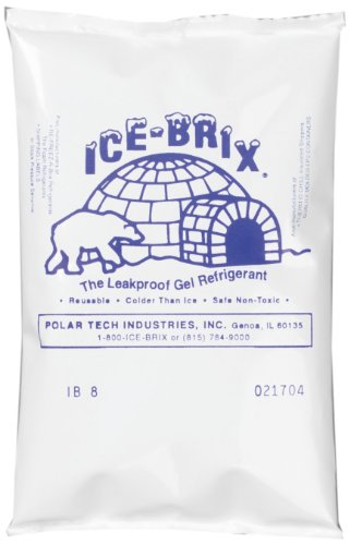 """Polar Tech IB6 Ice Brix Leakproof Viscous Gel Refrigerant Poly Pack, 4"""" Length x 6"""" Width x 3/4"""" Thick (Case of..."""