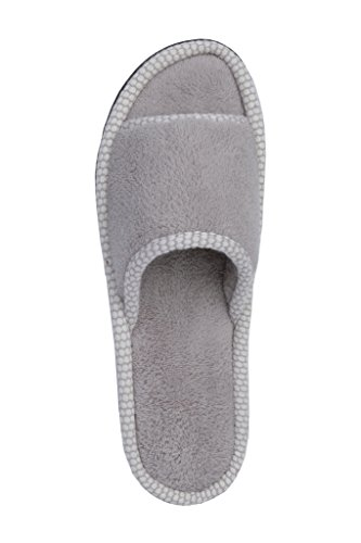 Beverly Rock Womens Polka Dot Trim Open Toe Terry Spa Slide Slipper Morning Fog Grey vsPsz