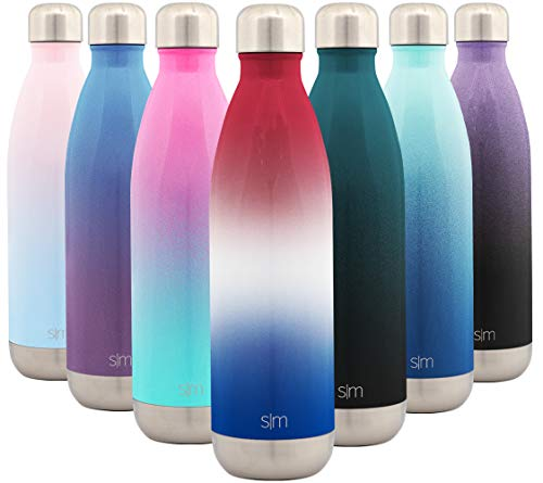 Simple Modern 25 Ounce Wave Water Bottle – Stainless Steel Double Wall Vacuum Insulated Metal Reusable – Leakproof Ombre: Freedom