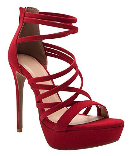 Cambridge Selezionare Donna Open Toe Crisscross Strappy Platform Stiletto Tacco Alto Sandalo Rosso Nbpu