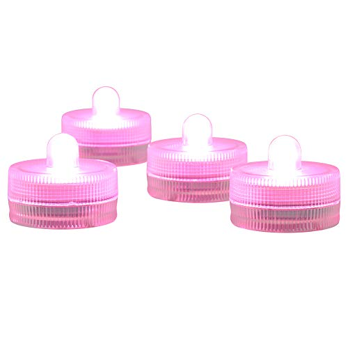 Submersible LED Lights cr2032 Battery Powered Underwater Waterproof LED Tea Light Candles for Events Wedding Centerpieces Vase Floral Xmas Holidays Home Decor Lighting(Pack of 12) (Pink)