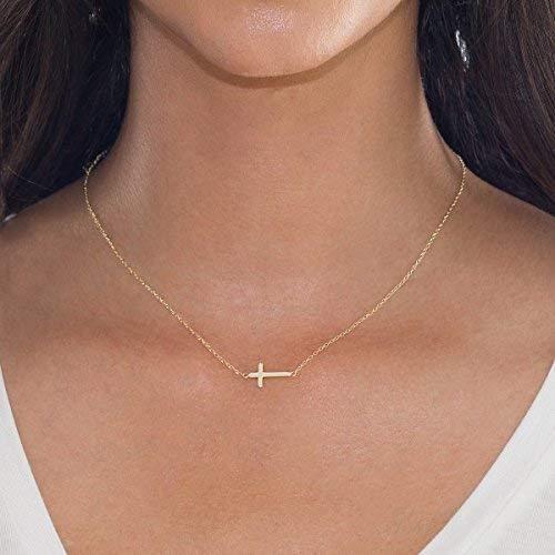 16+2 Extender Gold BELLABOHO Sideways Cross Delicate Necklace