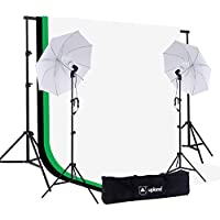 Upland Umbrella Continuous Lighting Kit for Photo, Photography and Video Studio, 2 Daylight Umbrellas (33) + Backdrop Support Stand (6.6x6.6FT) + 3 Backdrops (5.4x10FT)