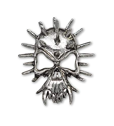 Real Metal Gothic Spiked Skull Fangs Jacket Hat Pin Silver Finish Pewter - Crossbones Pin