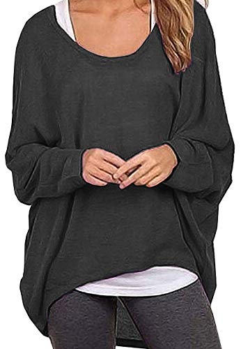 Dutebare Women Oversized Baggy Shirts Batwing Sleeve Pullover Tops Casual Knit Blouse Dark Grey M