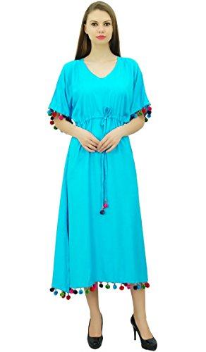 Bimba Rayonne De Femmes Longue Robe Caftan Avec Chic Concepteur Maxi Pom Pom Caftan Bleu Coverup