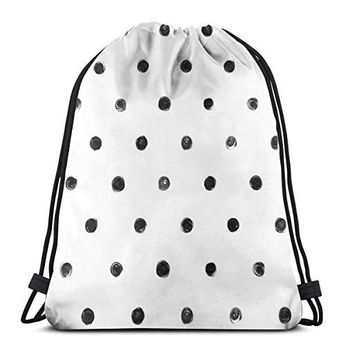 (KIENGG Drawstring Backpack Polka Dot Pattern Paint Stain Canvas Bulk Sackpack for Men Women String Sports Gym Bag)