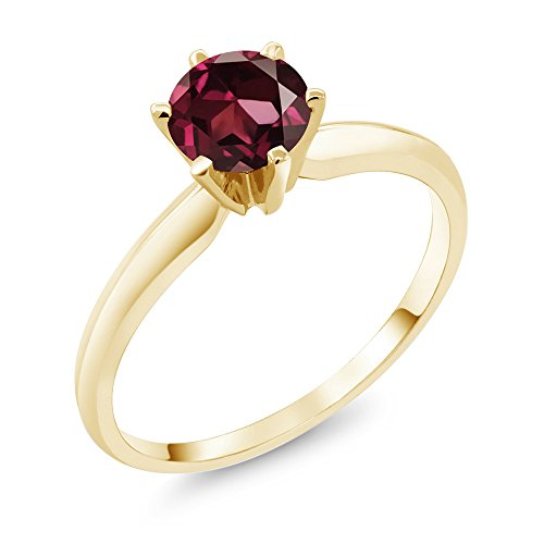 Gem Stone King 1.00 Ct Red Rhodolite Garnet 14K Yellow Gold Engagement Solitaire Ring (Size 5) ()