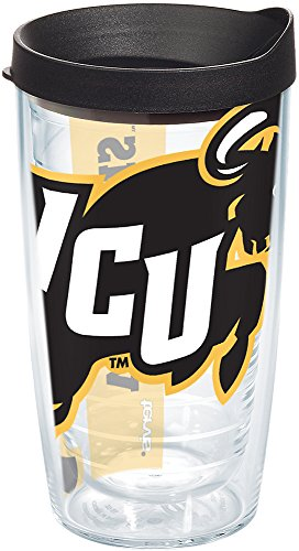 Tervis 1180567 VCU Rams Colossal Tumbler with Wrap and Black Lid 16oz, Clear ()
