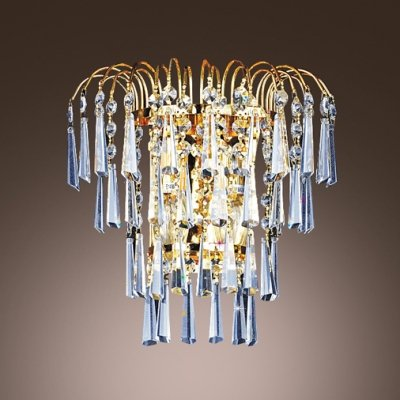 hua Lustrous Low-voltage Luminaire Wall Sconce Composed of Faceted Crystals