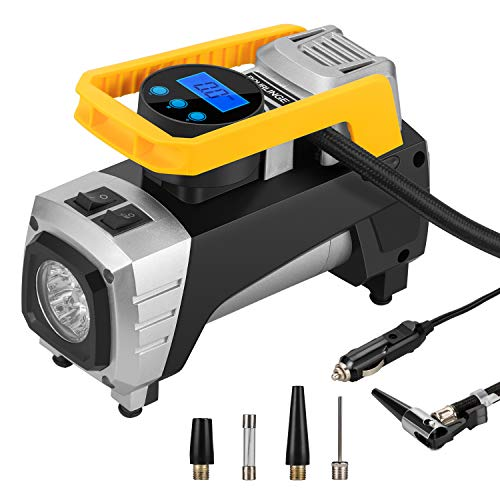 rourlinge 12V DC Portable Air Compressor Pump, 150 PSI Car Digital Display Auto Pump Tire Inflator with Preset Pressure Auto Shut Off Gauge and Emergency Light for Car Tyre, Motorcycle, Bicycle