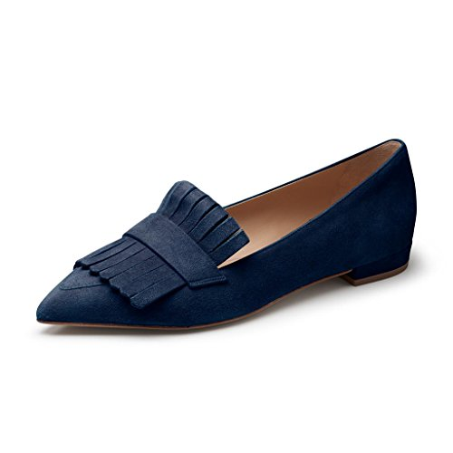 XYD Vintage Fringe Dress Flats Pointy Toe Slip On Driver Loafers Low Heels Pump Shoes Size 10 Navy