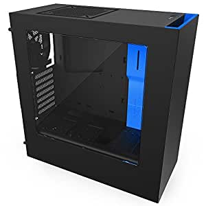NZXT S340 Mid Tower Computer Case, Matte Black/Blue (CA-S340MB-GB)