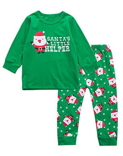 Little Boys' Christmas Santa's Little Helper Pajamas Outfit Pants Set -