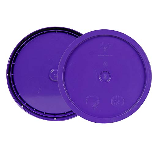 (Purple 3.5 to 5.25 Gallon High Density Plastic Lid with Tear Tab)