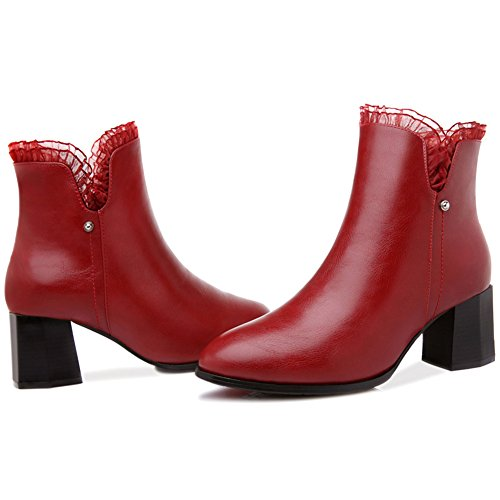 Lace Crude Zipper BERTERI Ankle Boots Women's Claret Lady's Side Boots Heel IOY5w