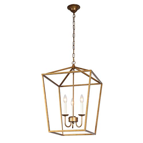 Pendants Finish Paint - Ascher Bronze Paint Finish Metal Lantern Chandelier with Cage Open Frame,Foyer Pendant Lamp, 3-Light Candle Ceiling Light Fixture, 16.93