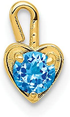 14 kt Yellow Gold 14ky October Synthetic Birthstone Heart Charm