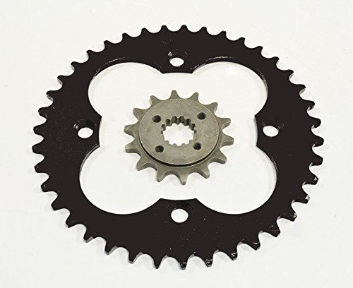 2005-2008 Fits Honda TRX400EX 400EX 14 Tooth Front & 39 Tooth Rear Silver Sprocket ()