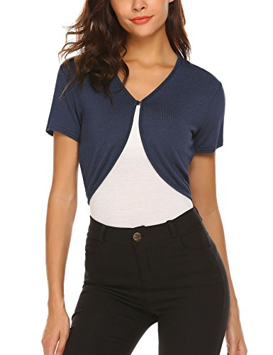 HOTOUCH Women's Short Sleeve Shrug Open Front Cotton Cardigan Bolero Jacket Navy Blue S