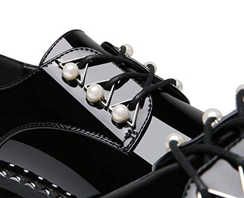 Molecole Dames Oxfords Schoenen Lakleer Parels Lace Up Vierkante Neus Flats Met Klinknagel Zijrand Black1
