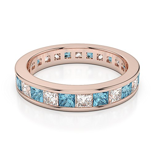 Or Rose 18 carats 1 CT G-H/VS Certifié Coupe Princesse aigue-marine et diamant éternité Bague Agdr-1134